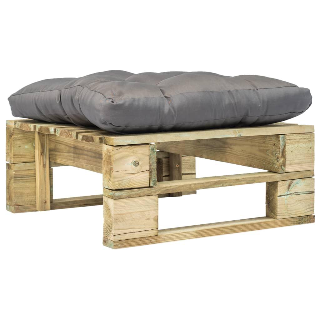 vidaXL Záhradná paletová tabureka so sivým vankúšom zelené drevo FSC