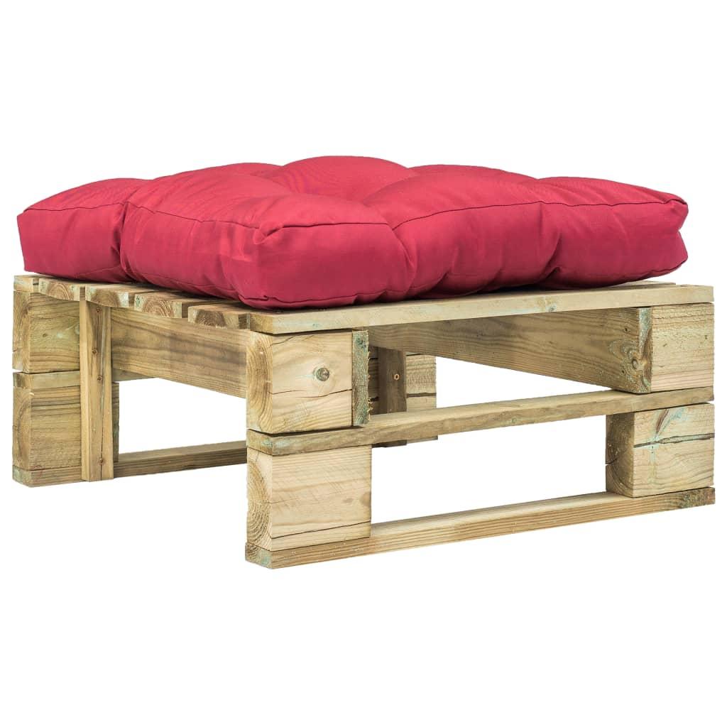 vidaXL Záhradný paletový otoman s červeným vankúšom zelený FSC drevo
