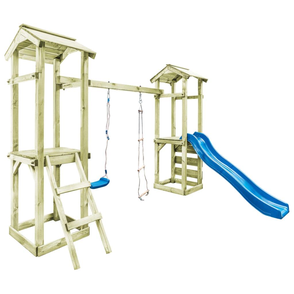 vidaXL Drevené detské ihrisko rebrík šmýkalka hojdačka 300x197x218 cm