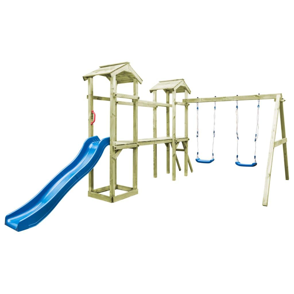 vidaXL Drevené detské ihrisko rebrík šmýkalka hojdačky 252x432x218 cm