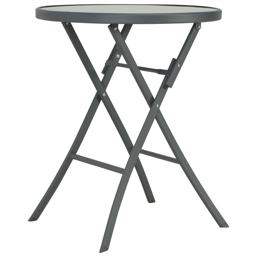 vidaXL Skladací vonkajší bistro stolík 60x70 cm sklo a oceľ