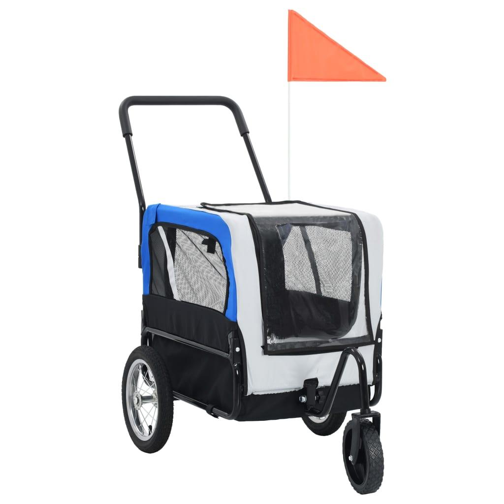 vidaXL Príves pre domáce zvieratá na bicykel/beh 2-v-1, sivo modrý