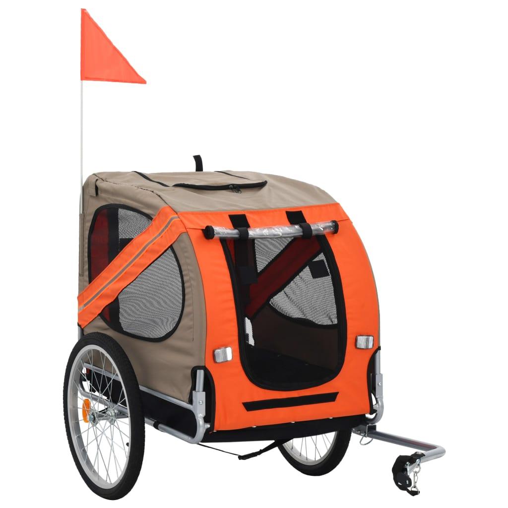 vidaXL Vozík za bicykel pre psa oranžová a sivá