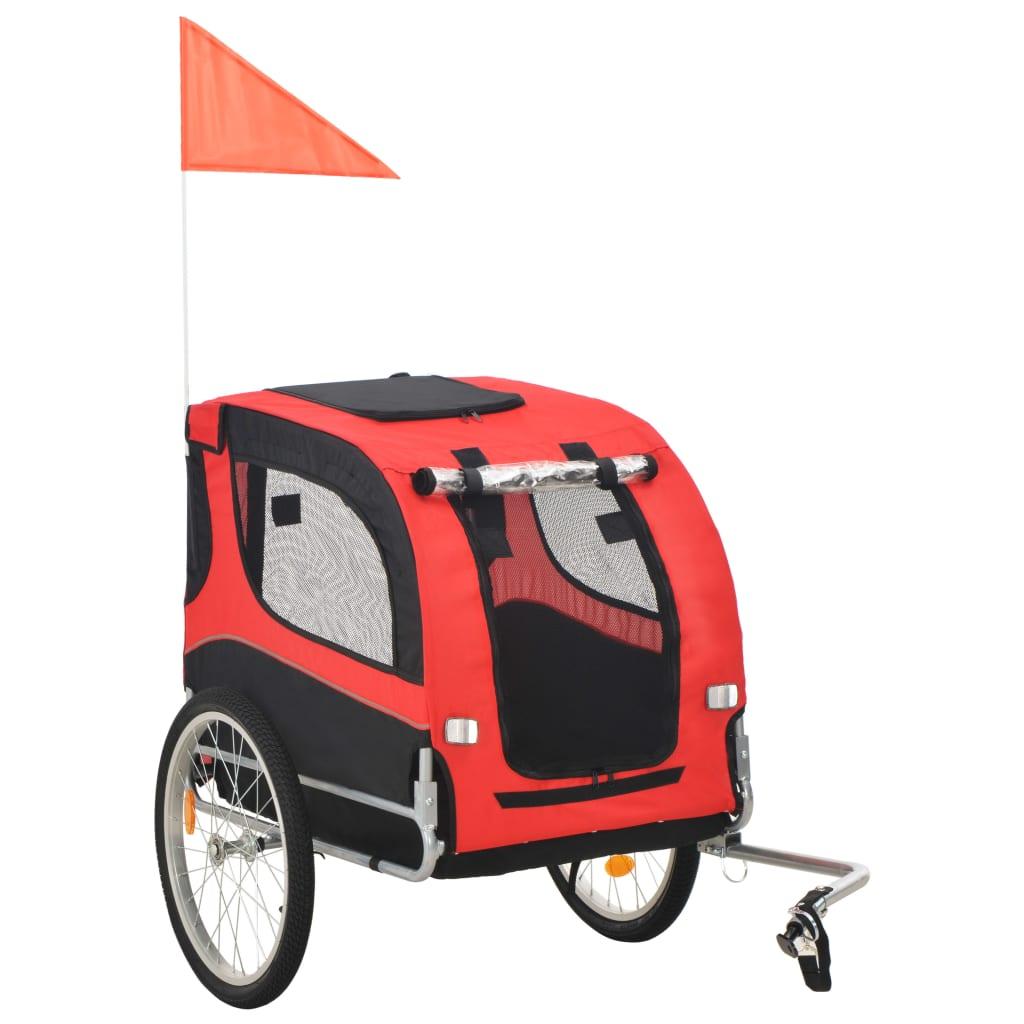 vidaXL Vozík za bicykel pre psa červeno-čierny