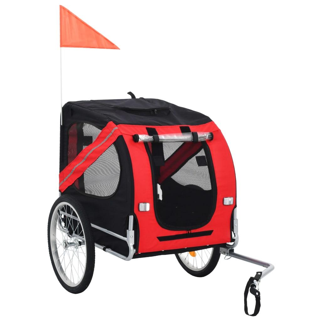 vidaXL Vozík za bicykel pre psa červená a čierna