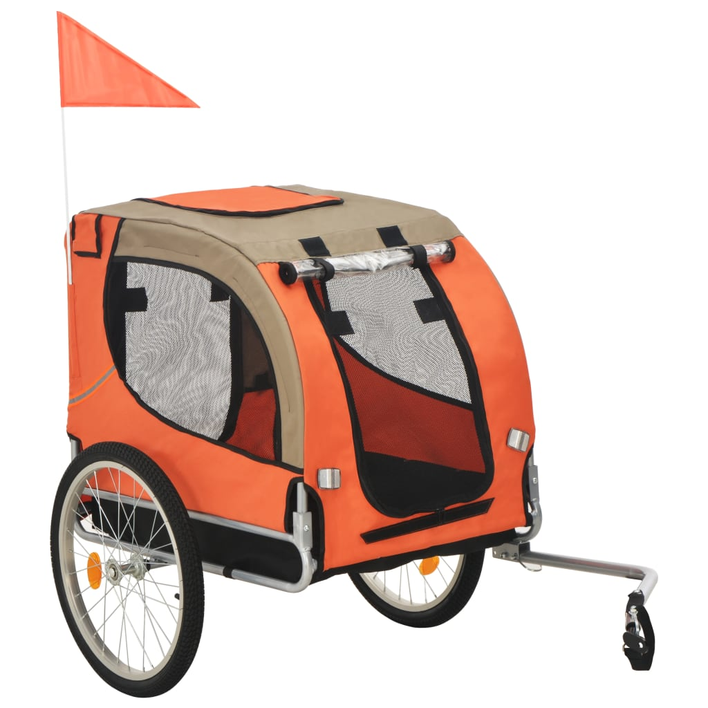 vidaXL Vozík za bicykel pre psa oranžovo-hnedý