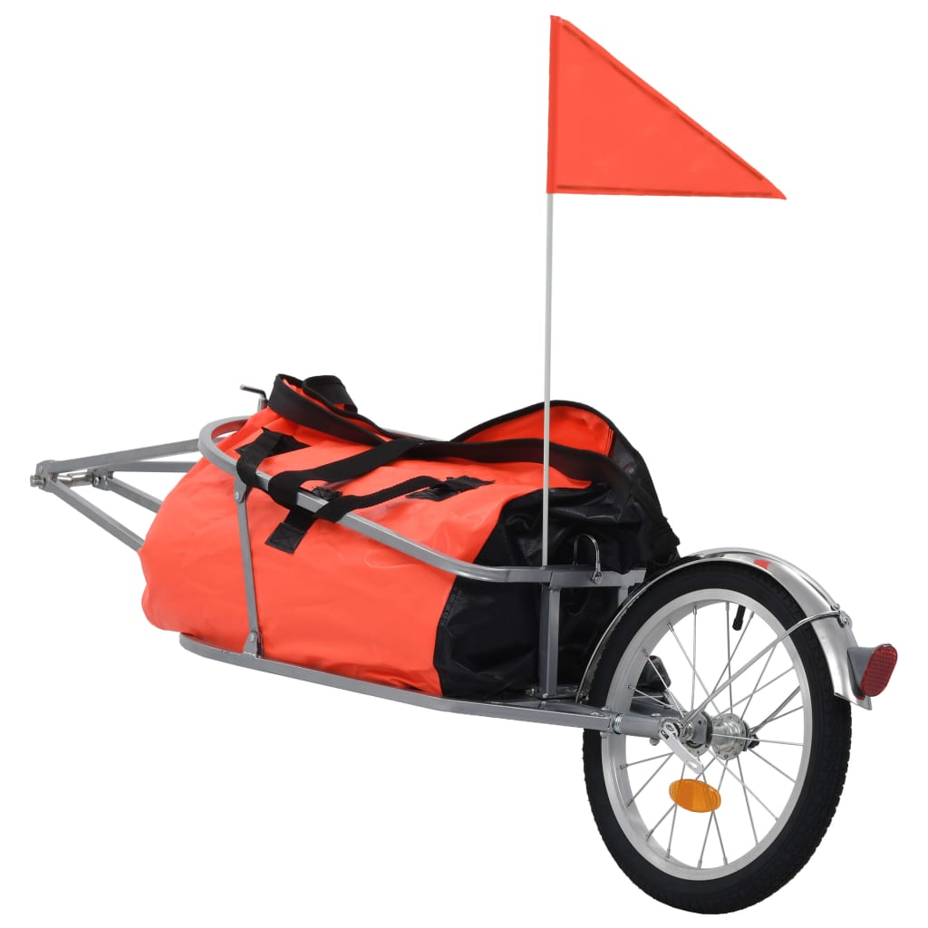 vidaXL Cyklovozík na batožinu s taškou oranžovo-čierny
