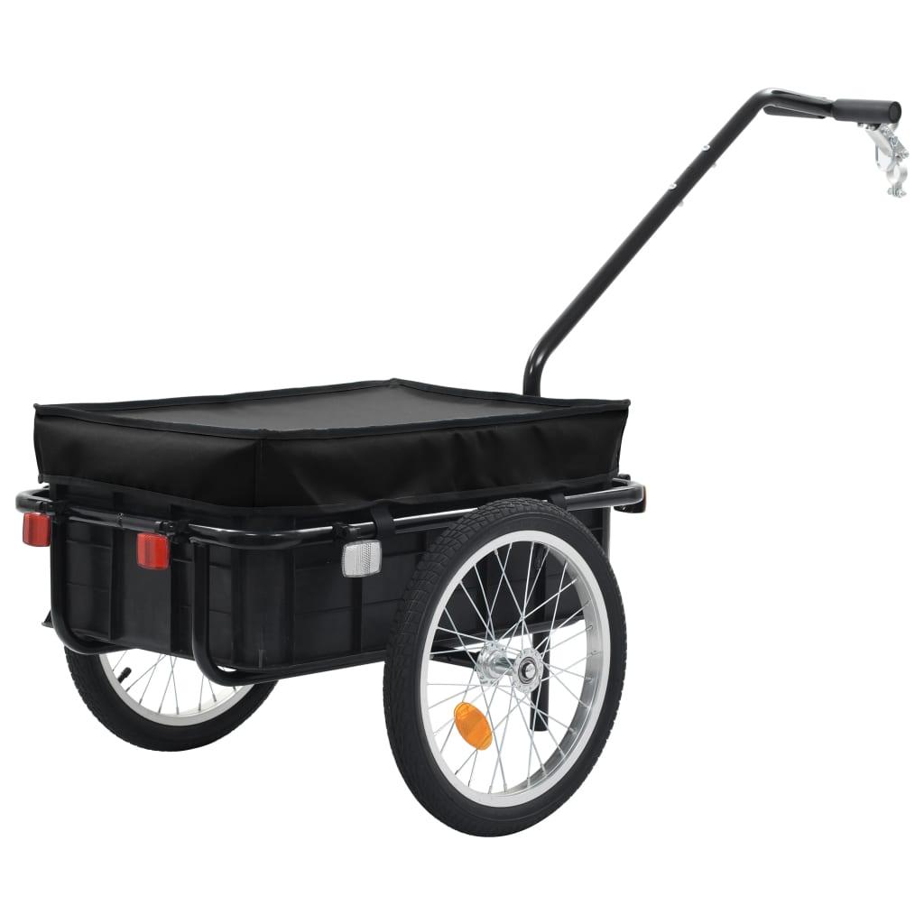vidaXL Nákladný vozík za bicykel/ručný vozík čierny 155x61x83 cm oceľ