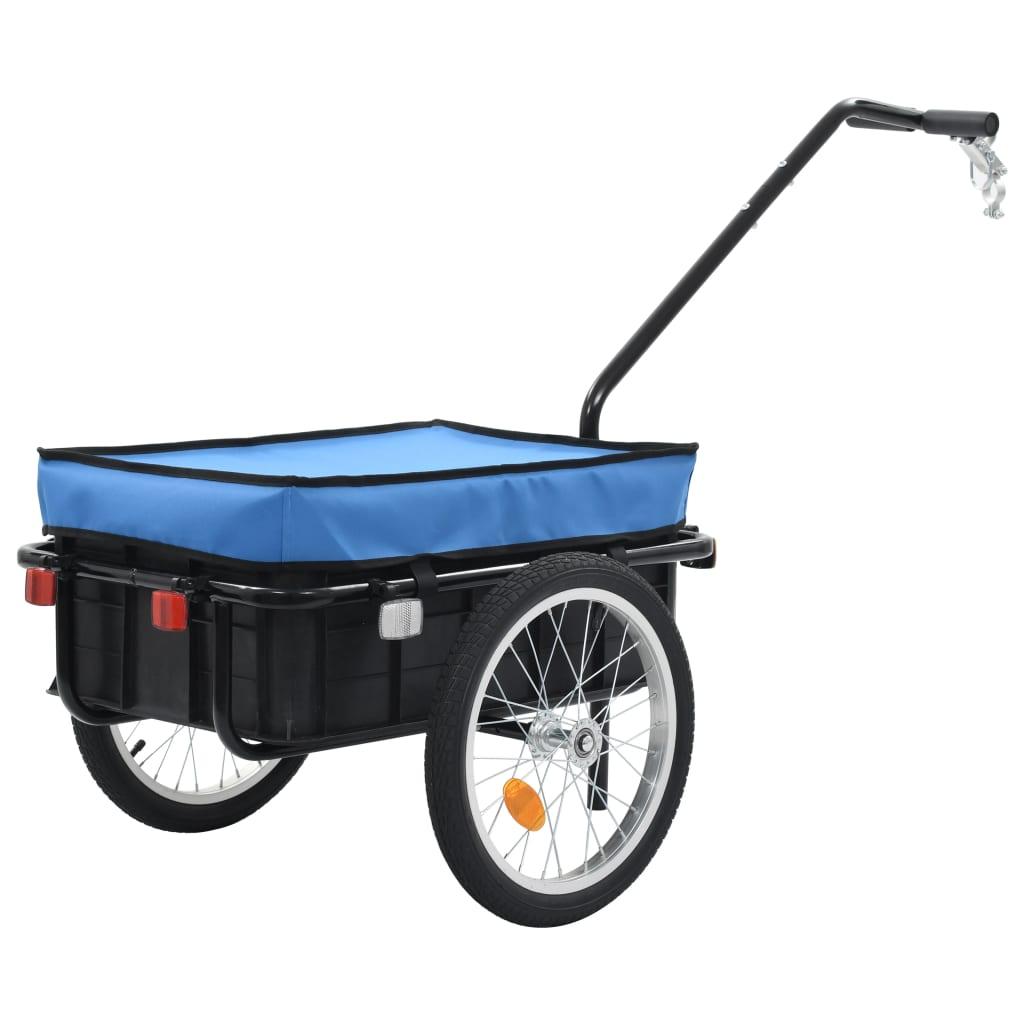 vidaXL Nákladný vozík za bicykel/ručný vozík modrý 155x61x83 cm oceľ