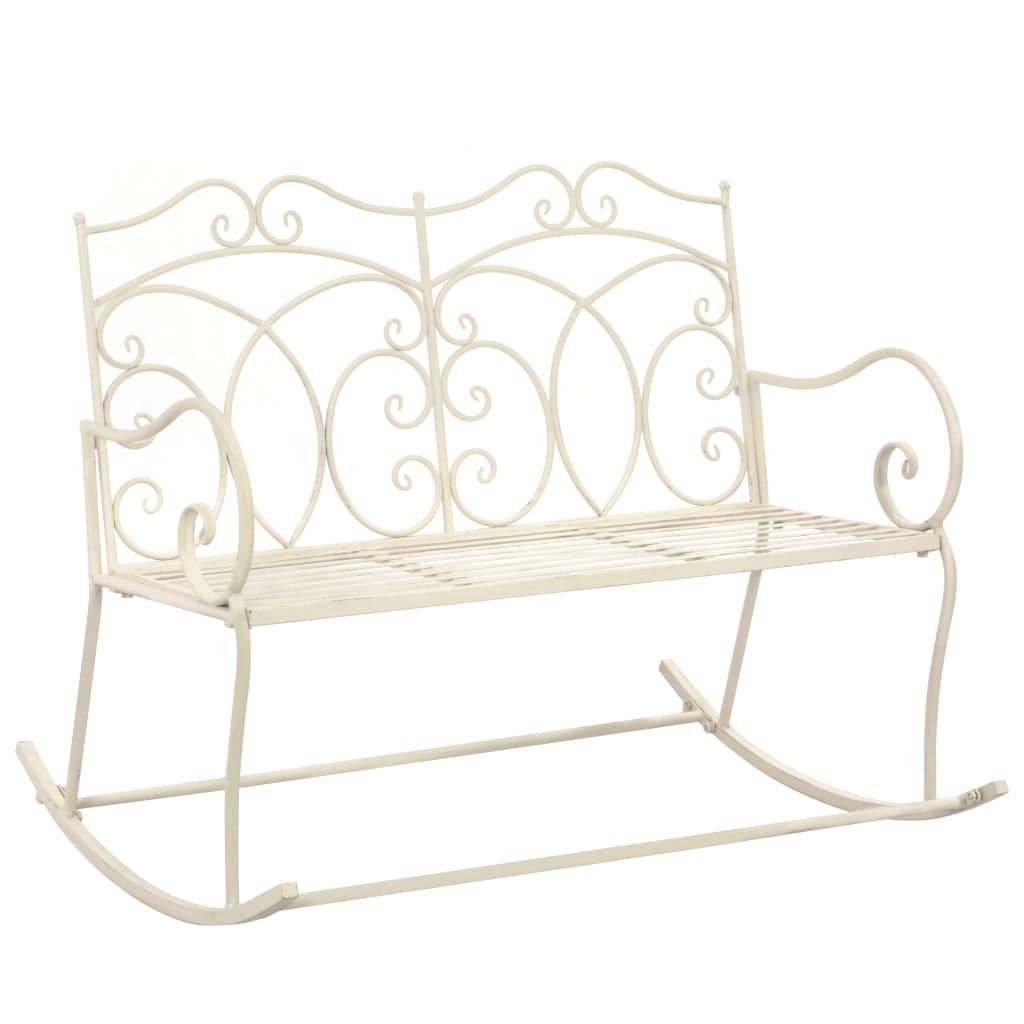 vidaXL Záhradná lavička 104 cm, železo, starožitná, biela