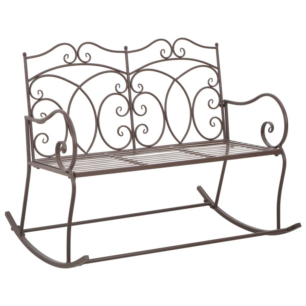 vidaXL Záhradná lavička 104 cm, železo, starožitná, hnedá
