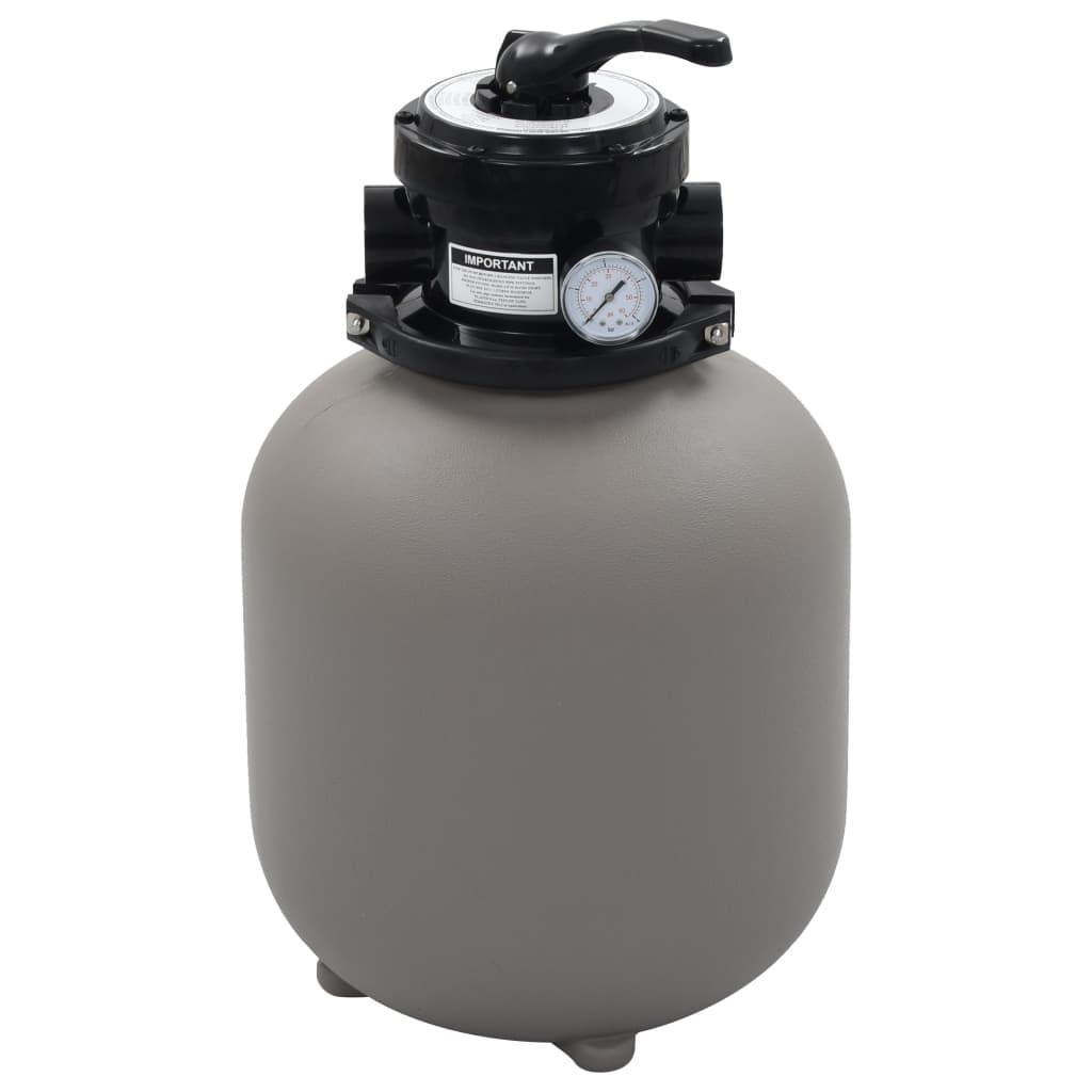 vidaXL Bazénový pieskový filter so 4 polohovým ventilom sivý 350 mm