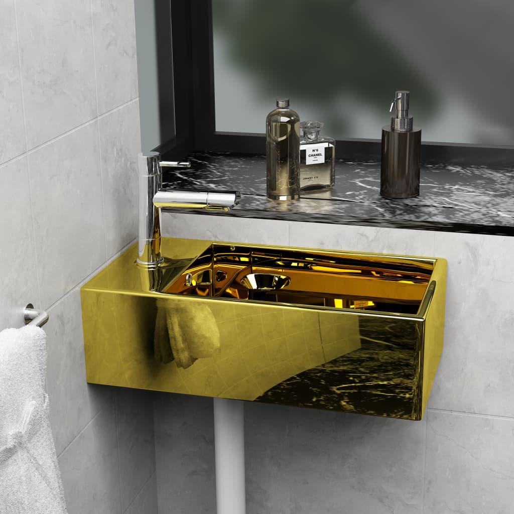 vidaXL Umývadlo s prepadom 49x25x15 cm, keramika, zlaté