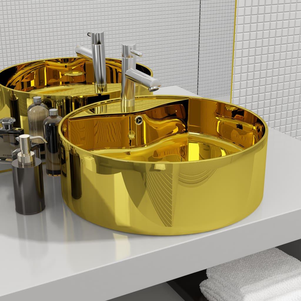 vidaXL Umývadlo s prepadom 46,5x15,5 cm keramické zlaté