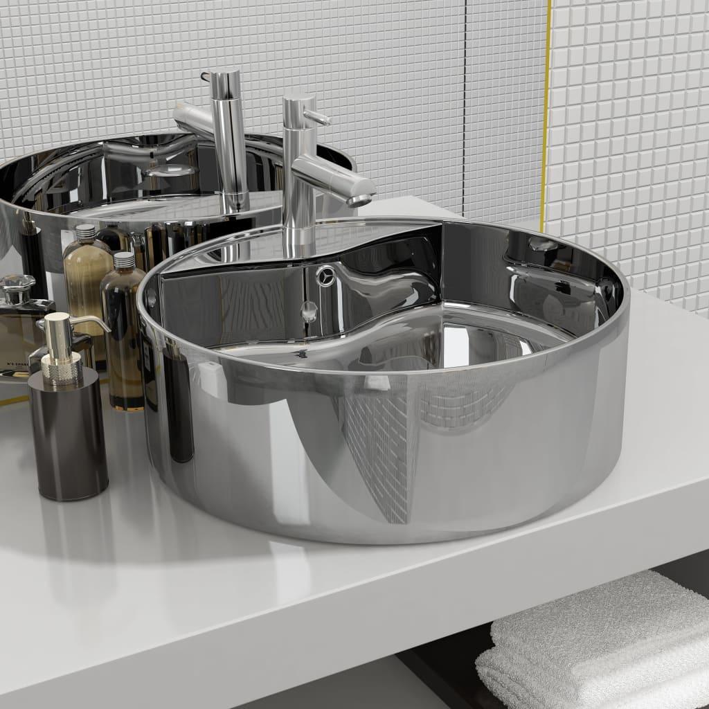 vidaXL Umývadlo s prepadom 46,5x15,5 cm keramické strieborné