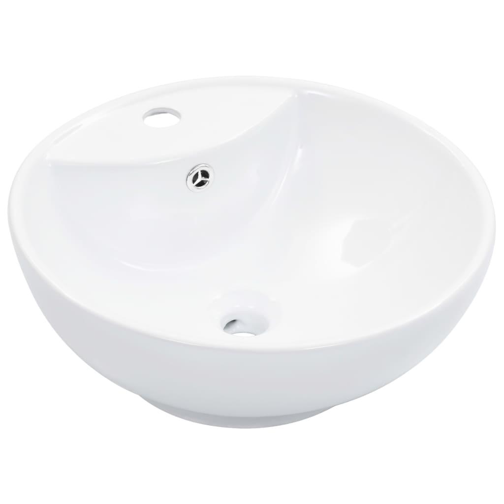 vidaXL Umývadlo s prepadom 46,5x18 cm keramické biele