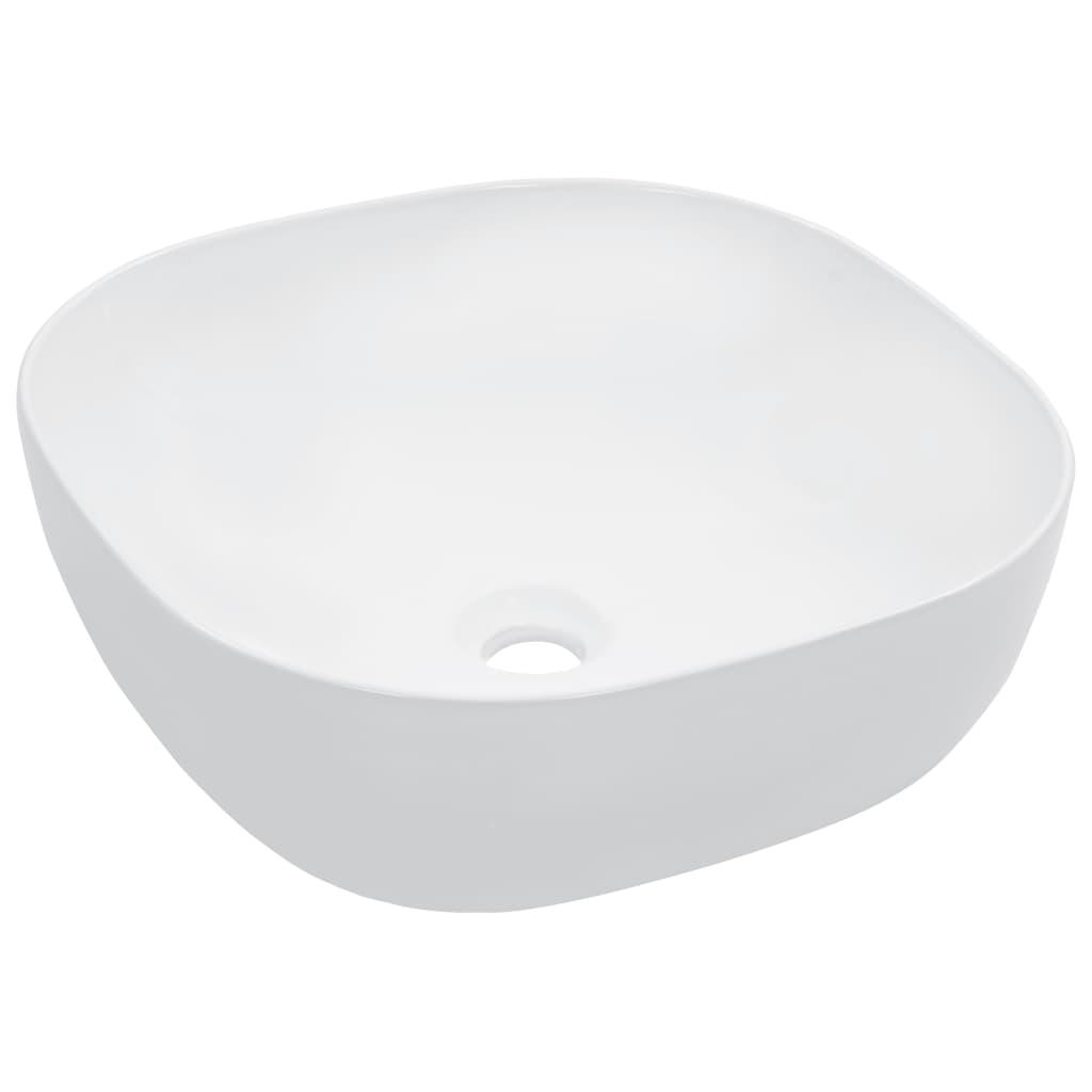 vidaXL Umývadlo 42,5x42x14,5 cm keramické biele