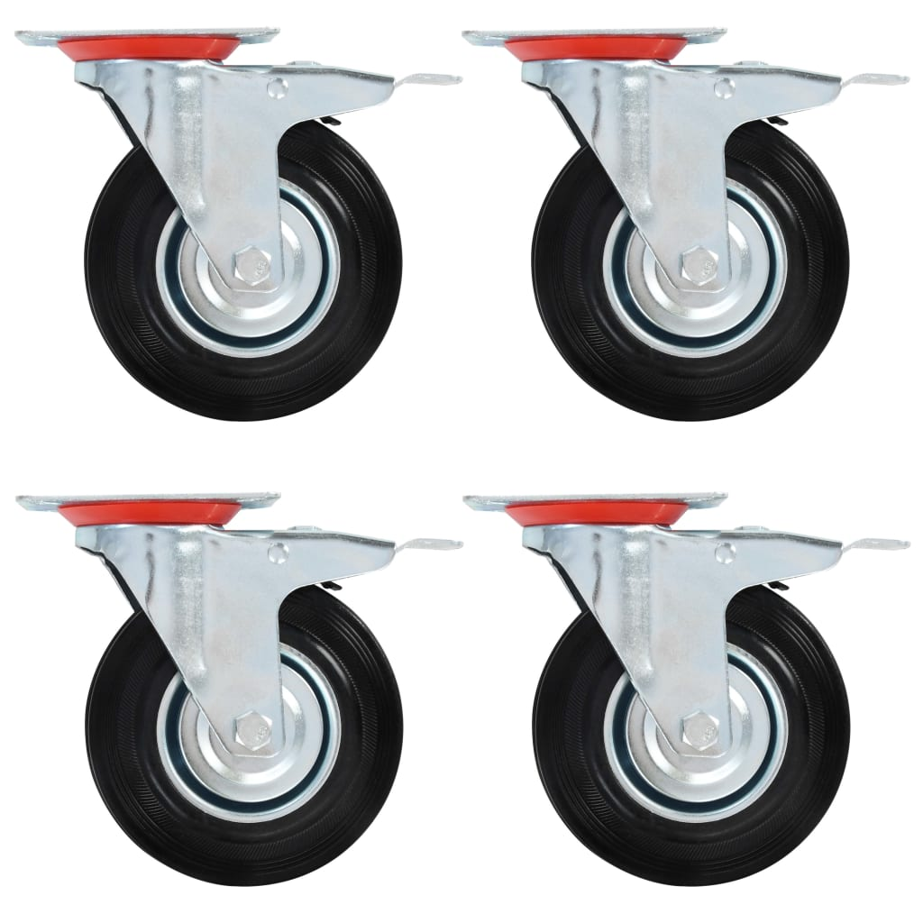 vidaXL Otočné kolieska s dvojitou brzdou 4 ks, 125 mm