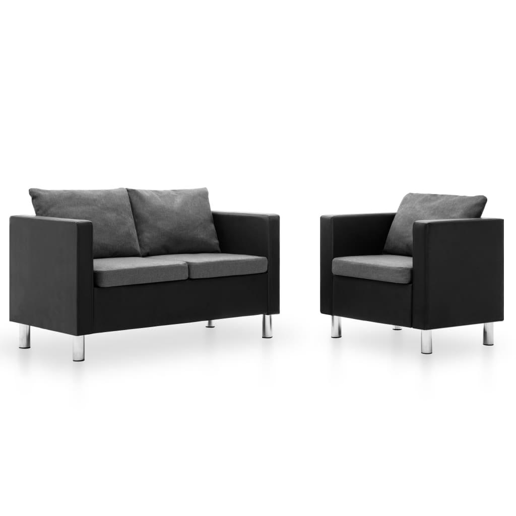 vidaXL 2-dielna sedacia súprava z umelej kože čierna a bledosivá