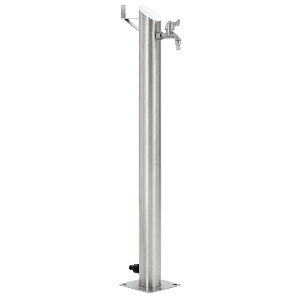 vidaXL Záhradný vodovodný stĺpik 95 cm nehrdzavejúca oceľ okrúhly