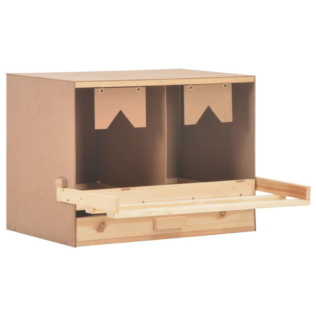 vidaXL Hniezdo pre sliepky 2 priehradky 63x40x45 cm masívne borovicové drevo