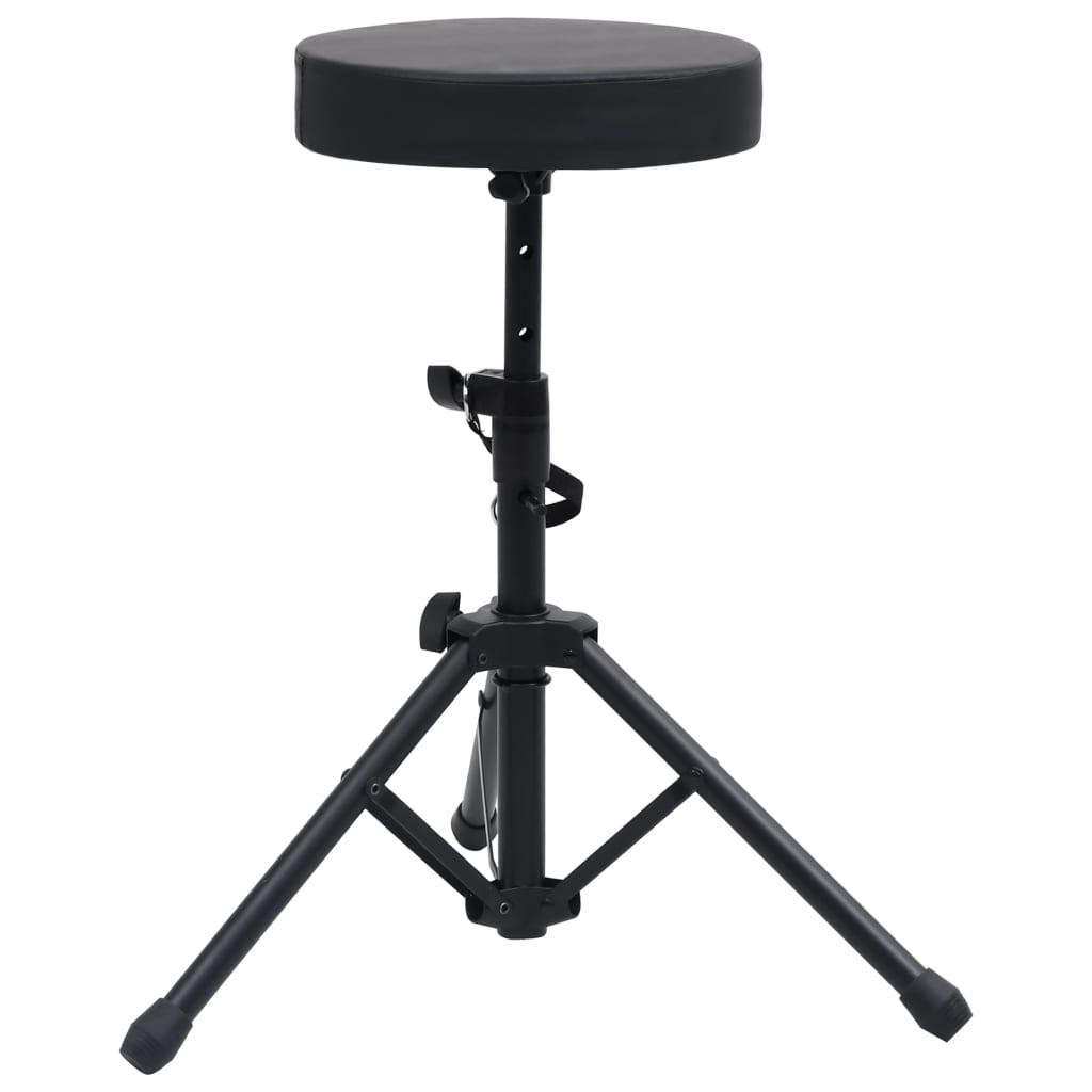 vidaXL Nastaviteľná stolička na bicie čierna okrúhla