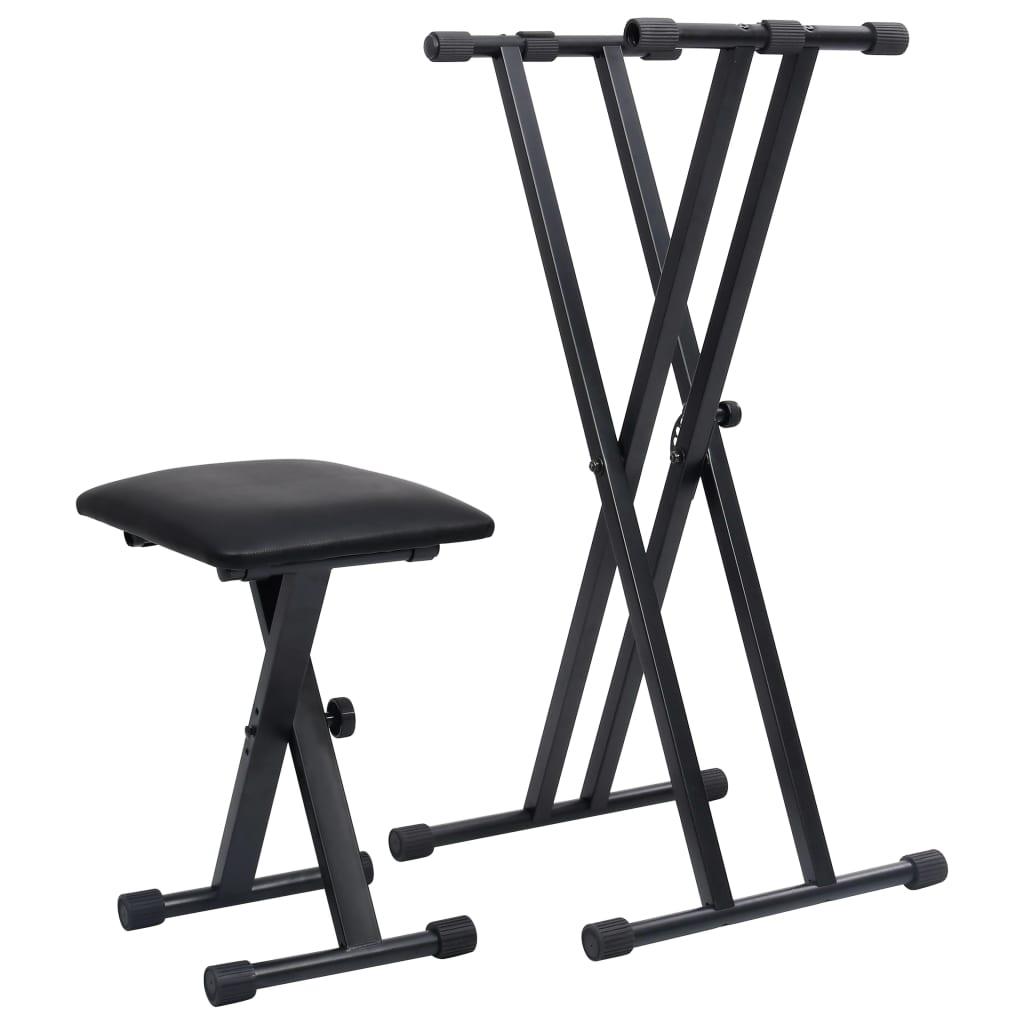 vidaXL Set dvojitého stojanu na klávesy a stoličky čierny