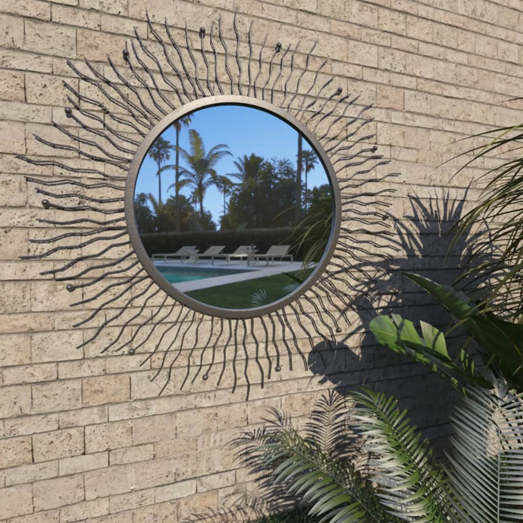 vidaXL Záhradné nástenné zrkadlo dizajn slnečných lúčov 80 cm čierne