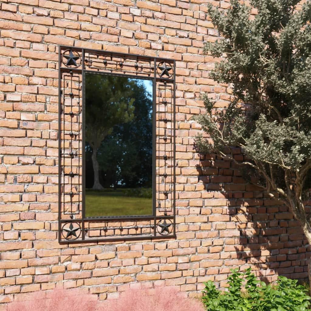 vidaXL Záhradné nástenné zrkadlo obdĺžnikové 50x80 cm čierne