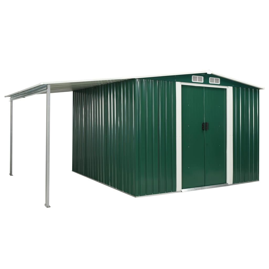 vidaXL Záhradná kôlňa s posuvnými dverami zelená 386x259x178 cm oceľová
