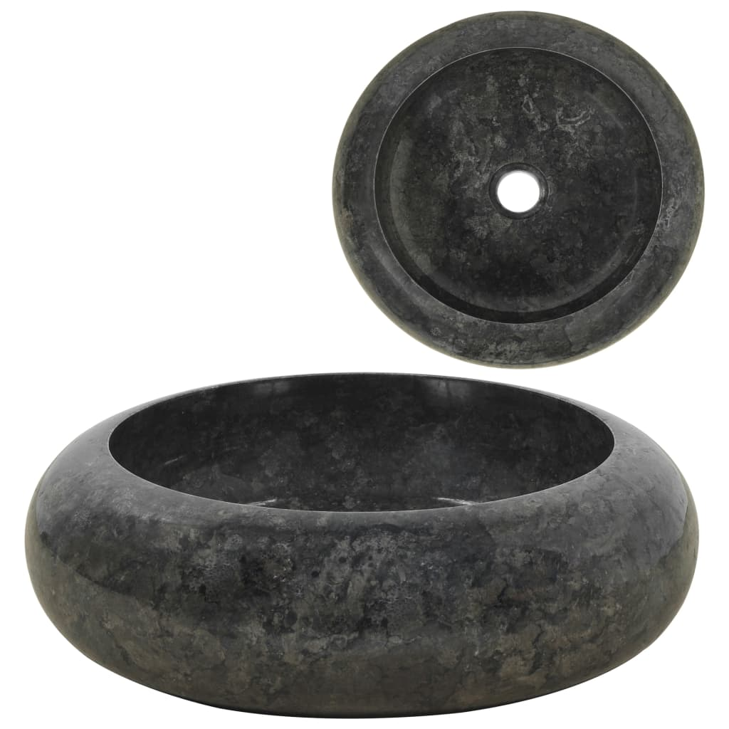 vidaXL Umývadlo 40x12 cm mramorové čierne