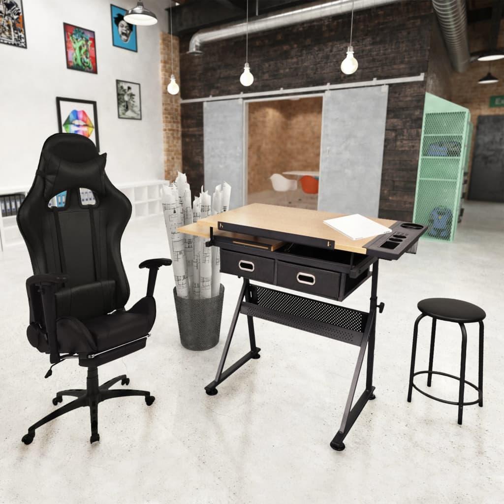 vidaXL Sklopný stôl na kreslenie s kancelárskou stoličkou na kolieskach