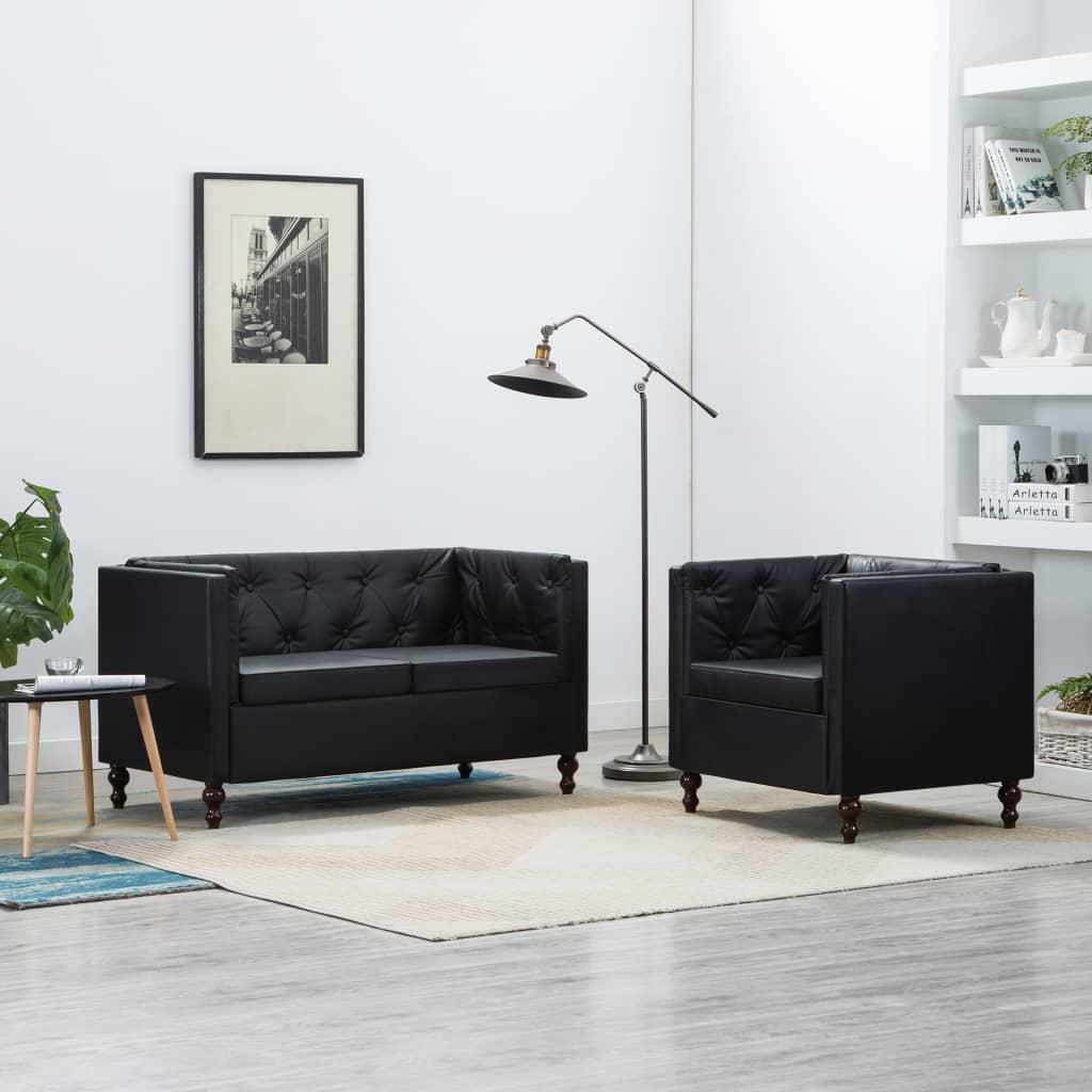 vidaXL 2-dielna sedacia súprava čierna čalúnenie z umelej kože