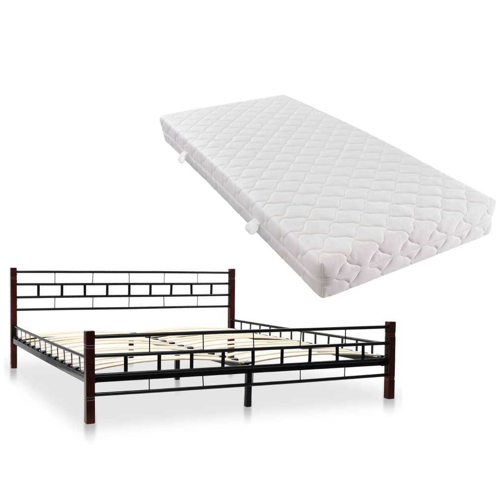 vidaXL Kovová posteľ s matracom 180x200 cm čierna
