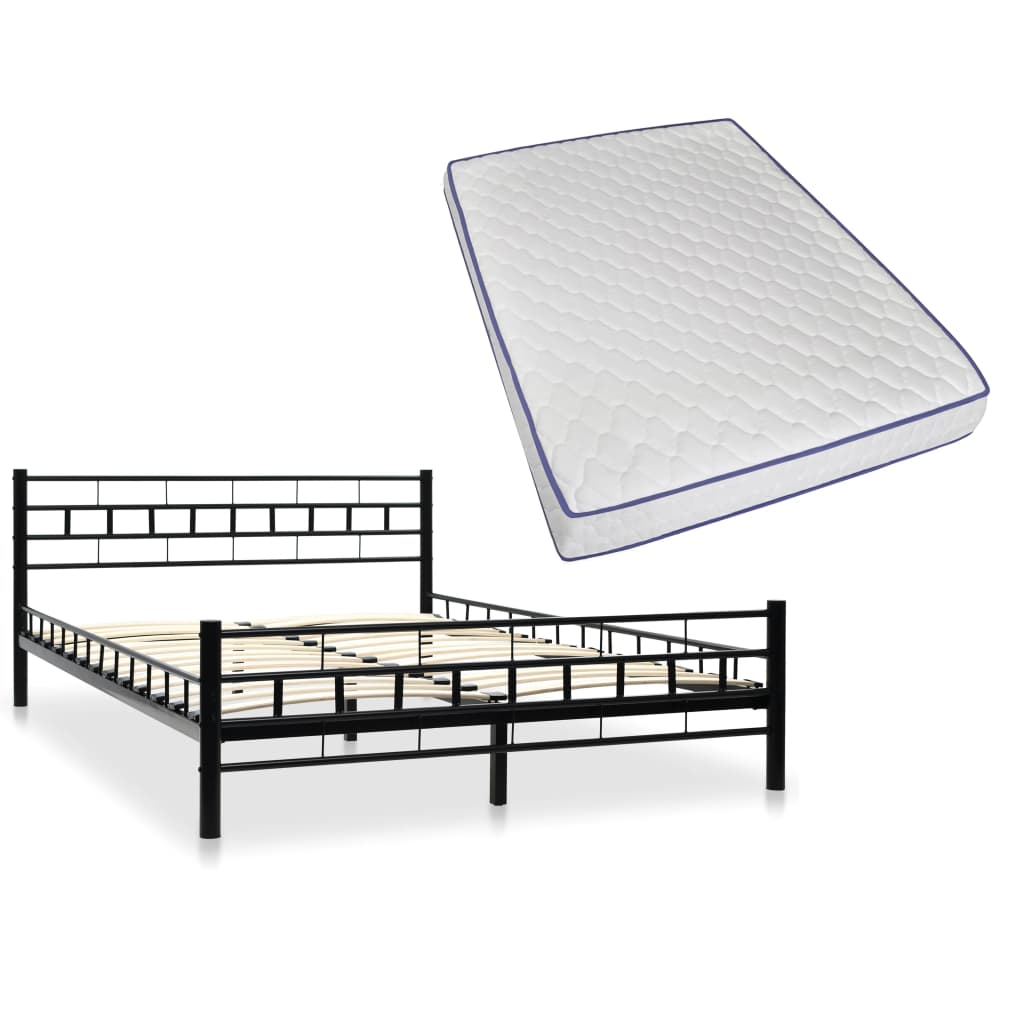vidaXL Kovová posteľ matrac s pamäťovou penou 140x200 cm čierna