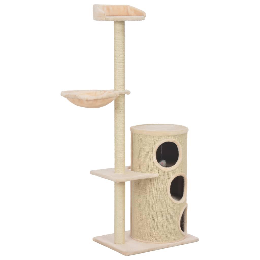 vidaXL Škrabadlo pre mačky so sisalovými stĺpikmi, béžové 148 cm