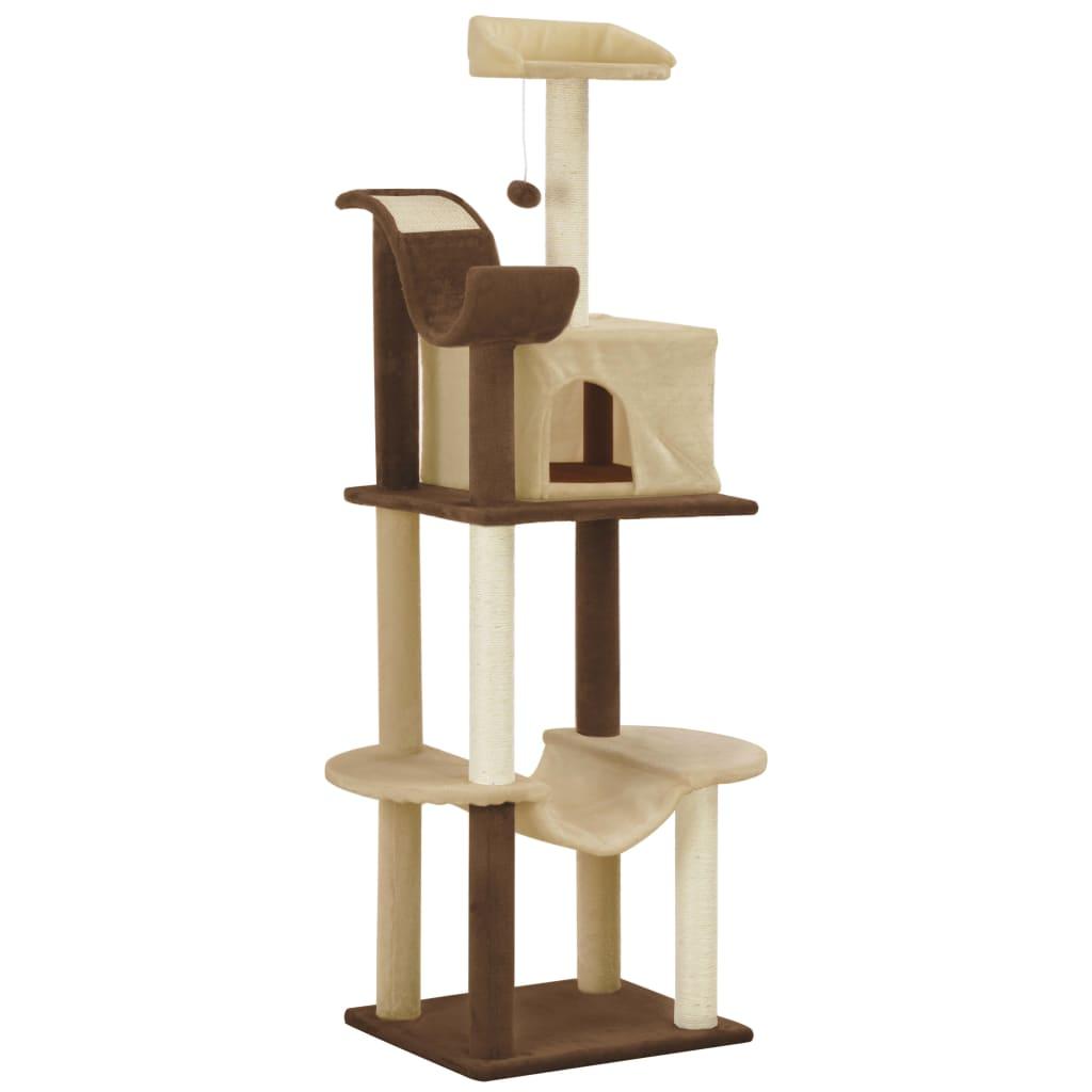 vidaXL Škrabadlo pre mačky so sisalovými stĺpikmi hnedé a béžové 155 cm