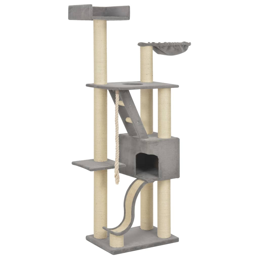 vidaXL Škrabadlo pre mačky so sisalovými stĺpikmi sivé 180 cm XXL