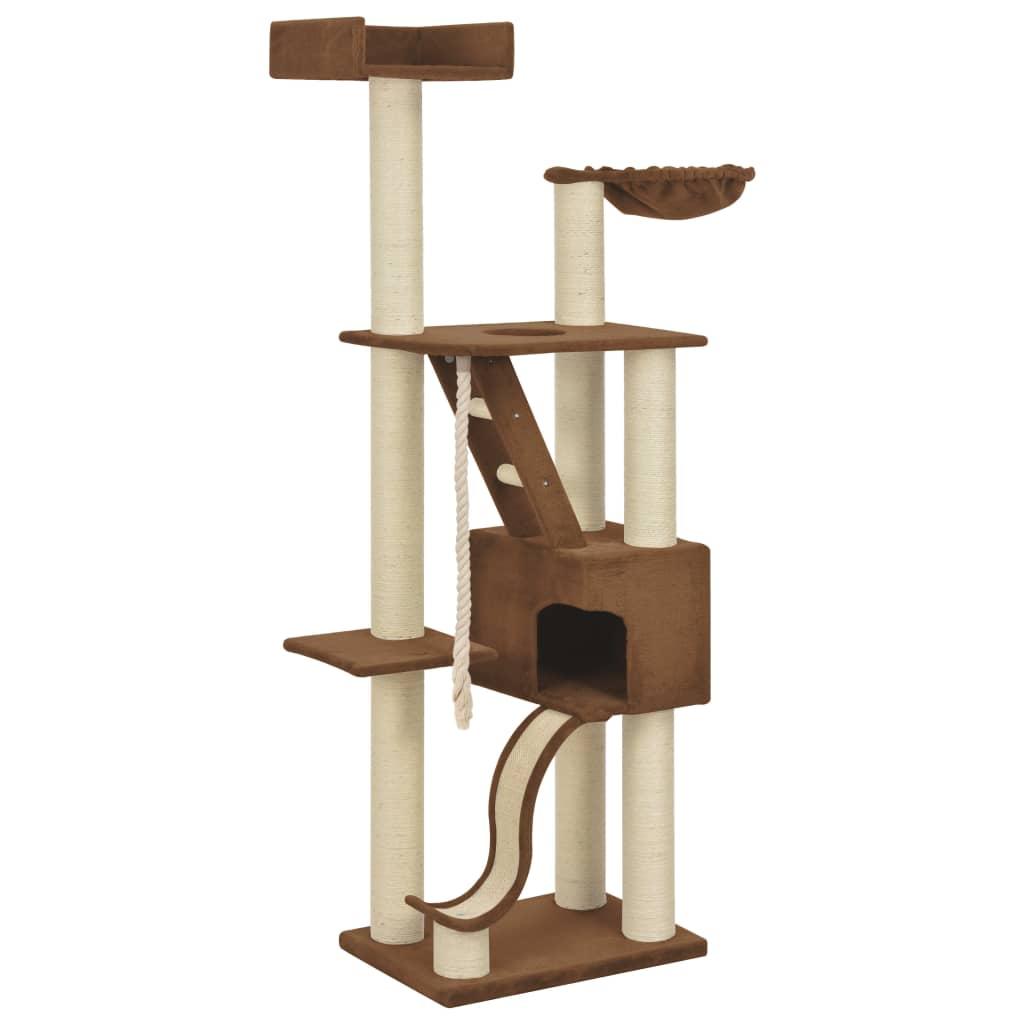 vidaXL Škrabadlo pre mačky so sisalovými stĺpikmi béžové 180 cm XXL
