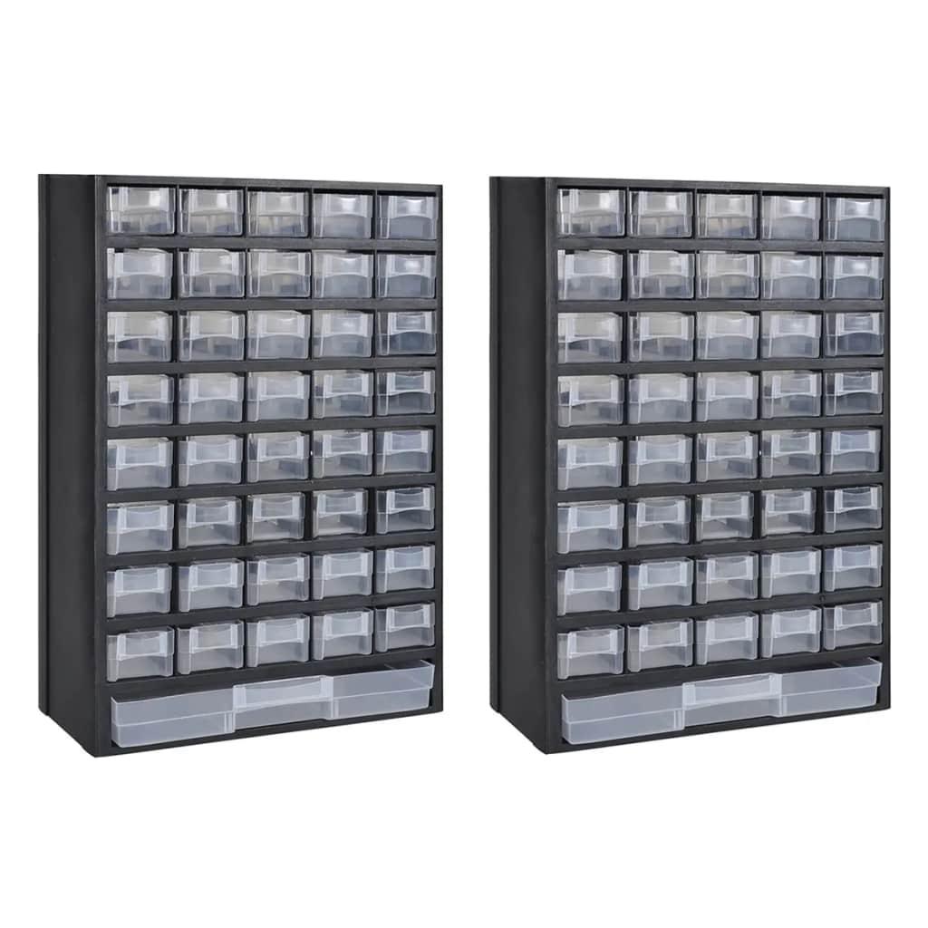 vidaXL 41-zásuvkové úložné skrinky na náradie 2 ks plastové