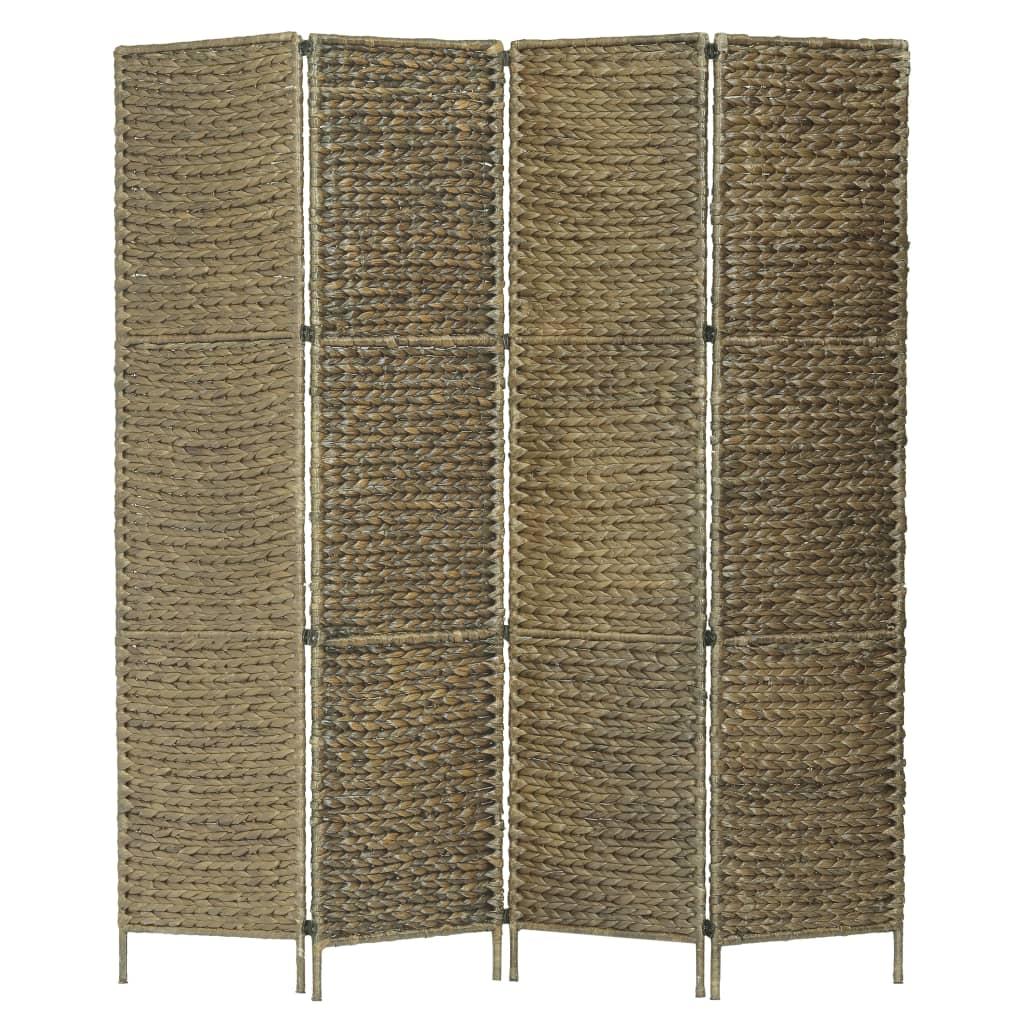 vidaXL 4-panelový paraván hnedý 154 x 160 cm vodný hyacint
