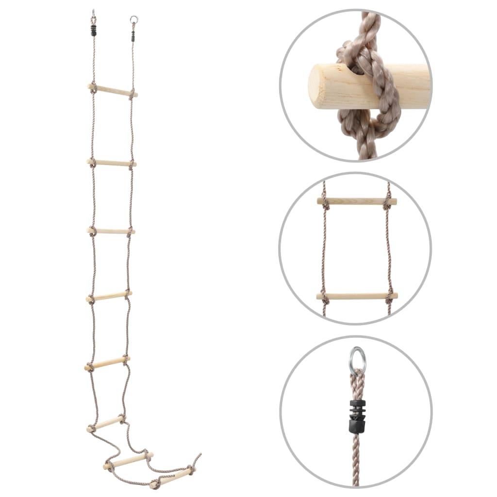 vidaXL Detský lanový rebrík 290 cm drevený