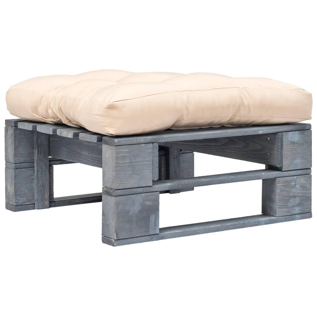 vidaXL Záhradný paletový otoman s pieskovými vankúšmi sivé FSC drevo