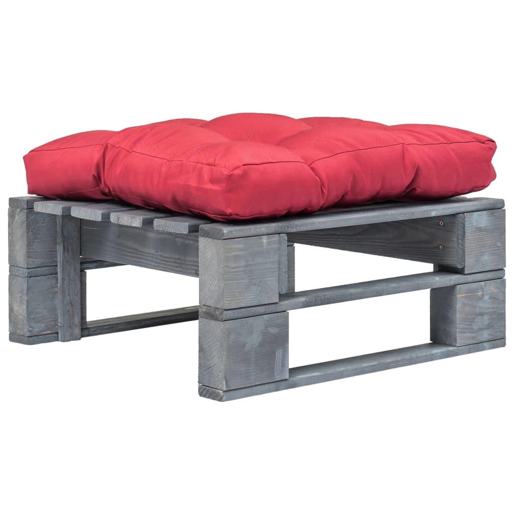 vidaXL Záhradný paletový otoman s červeným vankúšom sivé FSC drevo