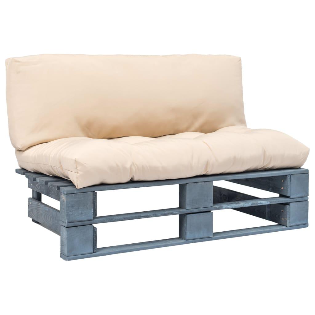 vidaXL Záhradná paletová sedačka s bledými vankúšmi borovicové drevo