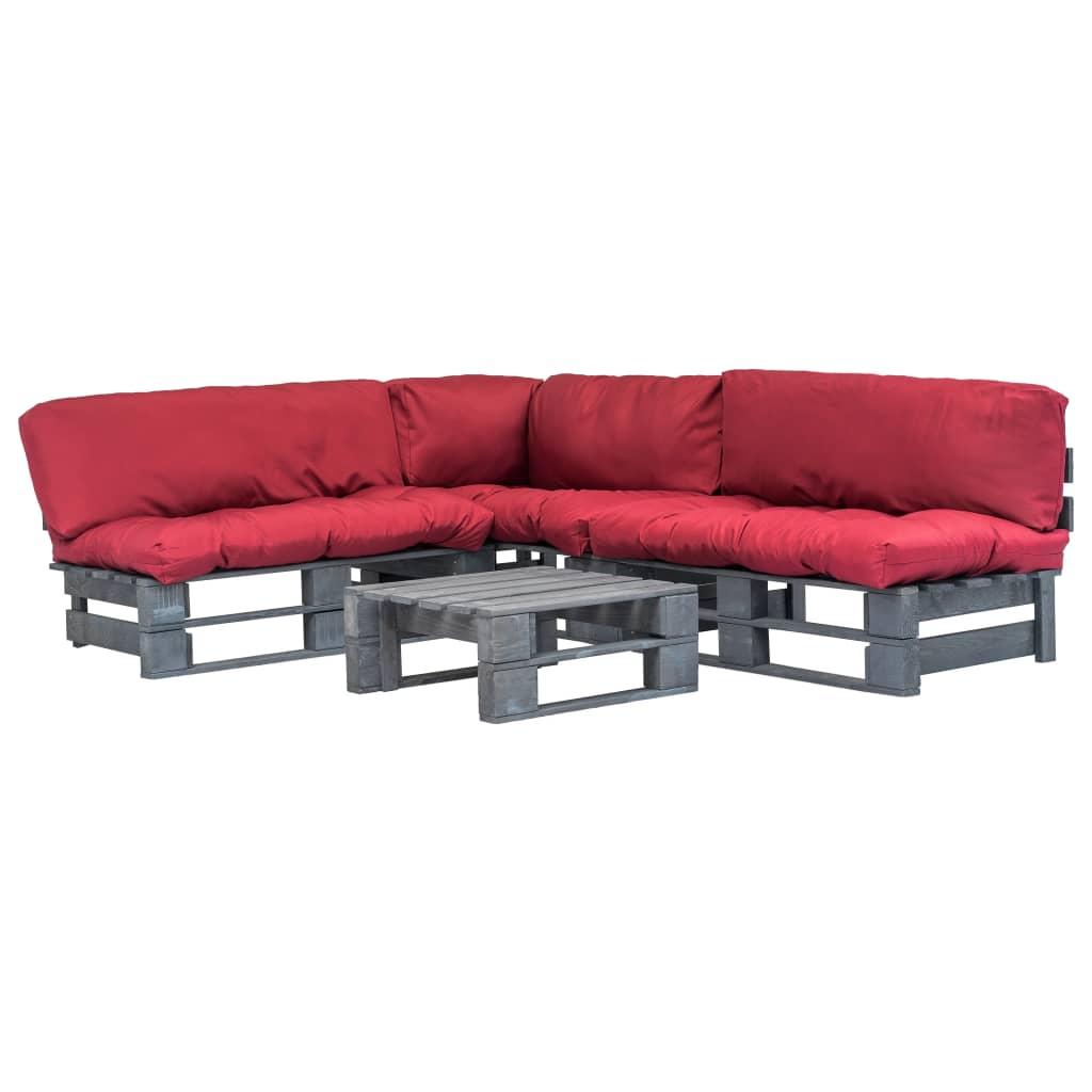 vidaXL 4-dielny záhradný paletový sedací set šedý červené vankúše