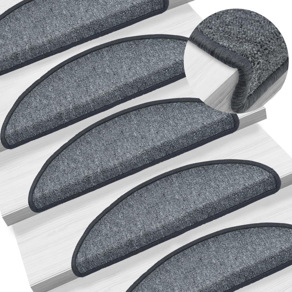 vidaXL 15 ks Nášľapy na schody sivé 56x17x3 cm
