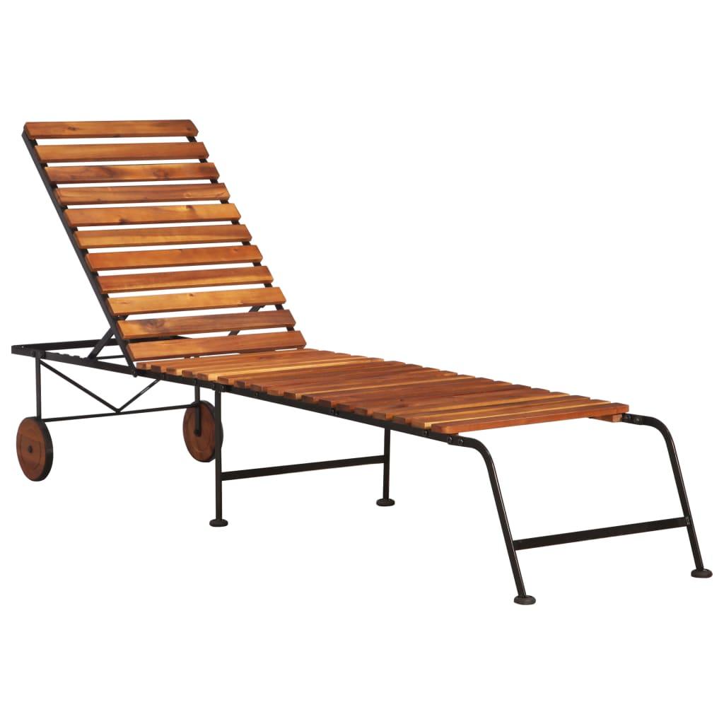 vidaXL Záhradné ležadlo z akáciového dreva s oceľovými nohami
