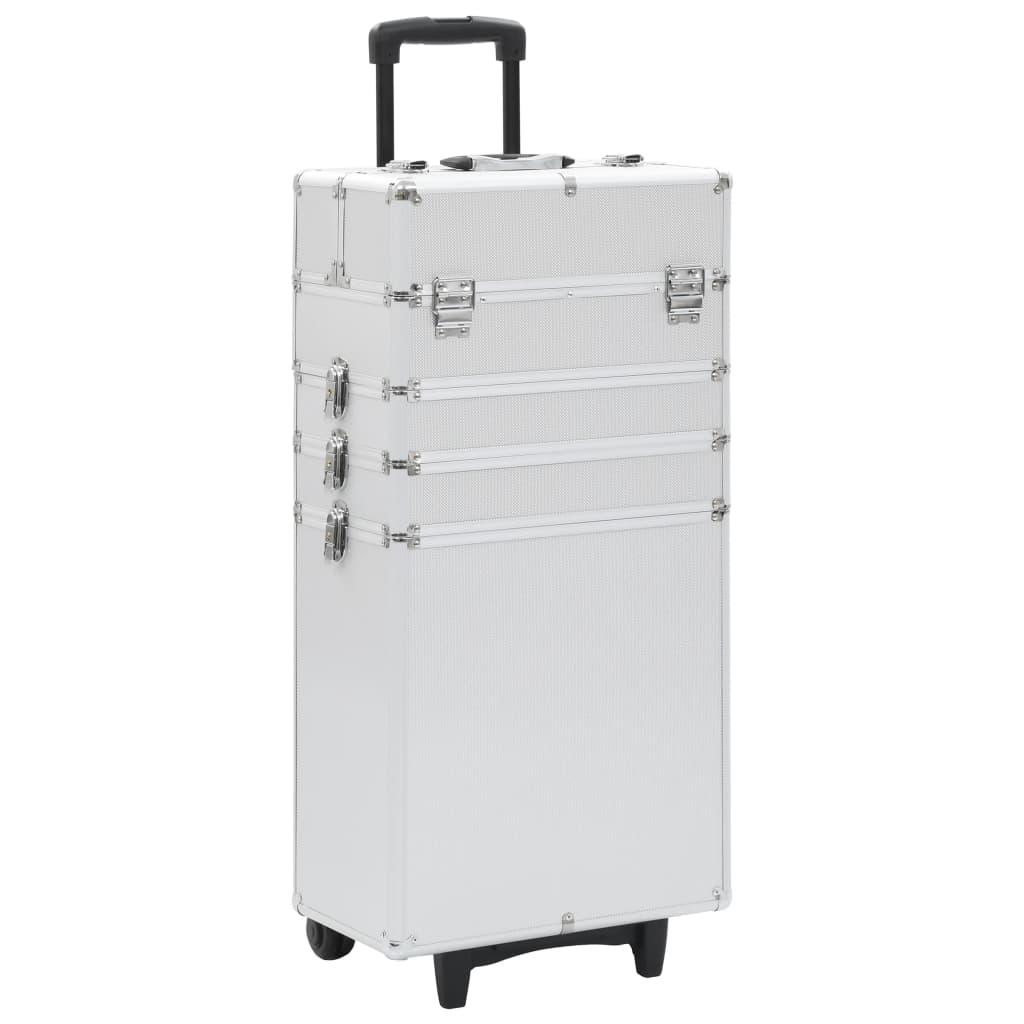 vidaXL Make-up kufrík strieborný hliníkový