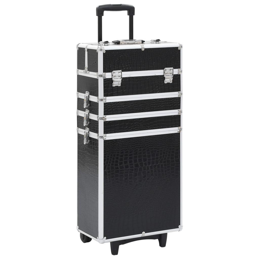 vidaXL Make-up kufrík čierny s krokodílím vzorom hliníkový